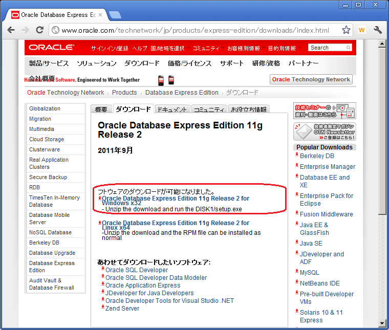 OracleDB XE Windows7