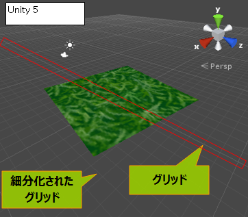 Unity の 3Dビューのグリッド