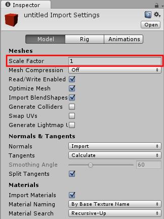 Unityから3Dファイルを取り込むときのスケール係数の設定