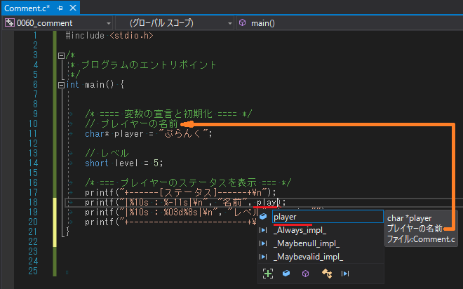 IntelliSense で変数のコメントを表示